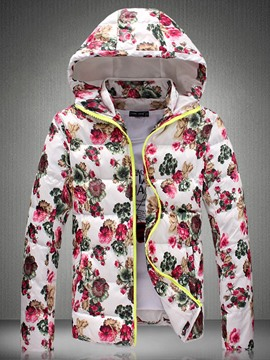Ericdress Floral Printed Hooded Thicken Warm Men's Cotton Padded Coat&Jacket