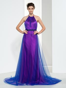 Ericdress A-Line Halter Beading Backless Evening Dress