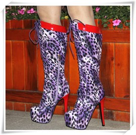 Ericdress Purple Leopard Print Knee High Boots