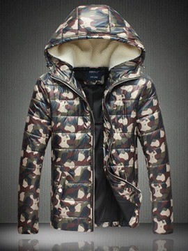 Ericdress Camouflage Thicken Zip Men's Cotton Padded Coat&Jacket