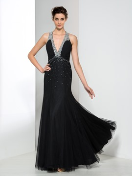 Ericdress V-Neck Beading Pleats Evening Dress