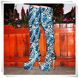 Ericdress Blue Leopard Print Over Knee High Boots