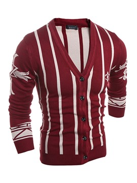 Ericdress Stripe Single-Breasted Jacquard Men's Sweater