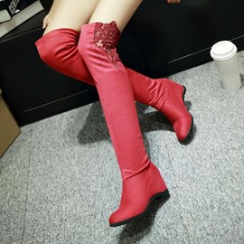 Ericdress Chic Lace Wedge Knight Boots