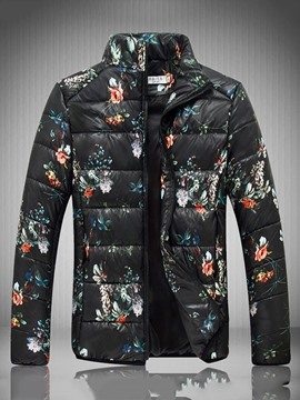 Ericdress Floral Printed Zip Vogue Warm Winter Men's Cotton Padded Coat&Jacket