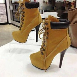 Special Super High Heel Round-toe Platform with Crossed Ties