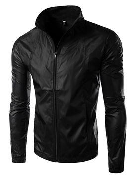 Ericdress Plain Full Zip Slim Thin Men's Jacket