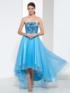Ericdress Strapless Sequins Asymmetry Prom Dress