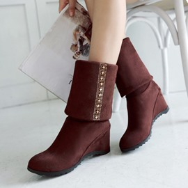 Ericdress Suede Ankle Boots(different ways to wear)
