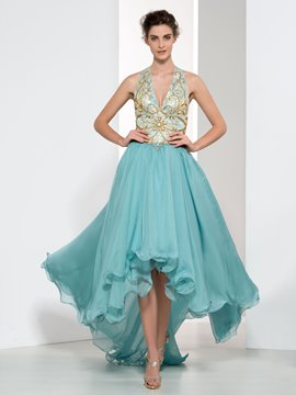 Ericdress Halter Beading Lace Asymmetry Prom Dress