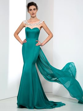 Gorgerous Mermaid Off-Shoulder Court Train Appliques Evening Dress