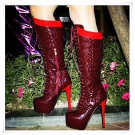 Ericdress Modern Burgundy Knee High Boots