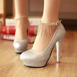 Hottest Silver Sequins Upper Close Toe Stiletto Heels Wedding Shoes