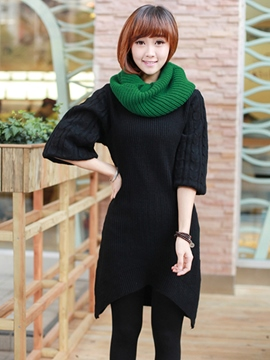 Ericdress Plain Asymmetric Sweater Dress