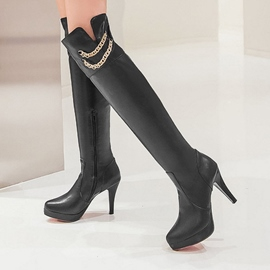 Ericdress Metal Chain Decoration Knee High Boots