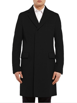 Ericdress Plain Long Slim Simple Design Polyester Thin Men's Coat