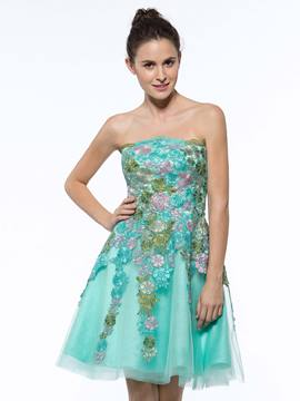 Ericdress A-Line Strapless Appliques Short Cocktail Dress