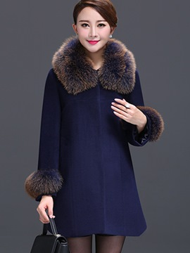 Ericdress Simple Faux Fur Collar Coat
