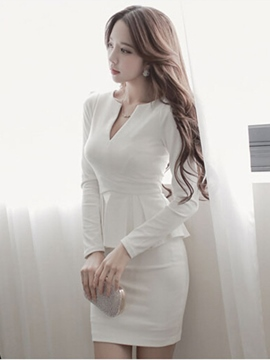 Ericdress Plain V-Neck Falbala OL Bodycon Dress