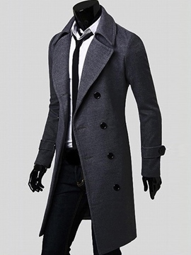 Ericdress Plain Double-Breasted Slim Long Men's Woolen Coat