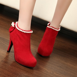 Ericdress Pearl&bowtie Decoration High-heel Boots