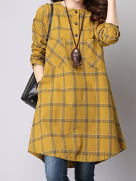 Ericdress Plaid Single-Breasted A-Line Casual Dress