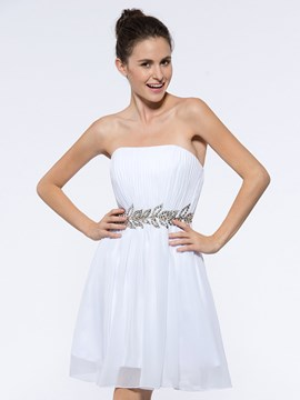 Ericdress Strapless Beading Pleats Short Cocktail Dress