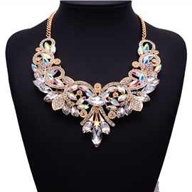Ericdress Stylish Diamante Floral Necklace