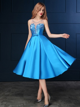 Ericdress Sheer Neck Beading Sashes Tea-Length Prom Dress