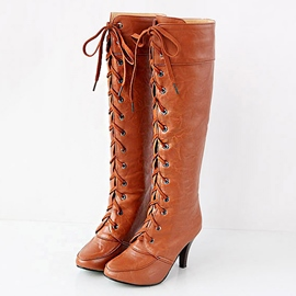 Ericdress Vintage Lace up Knight Knee High Boots