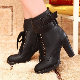 Ericdress Graceful Lace-up High Heel Boots