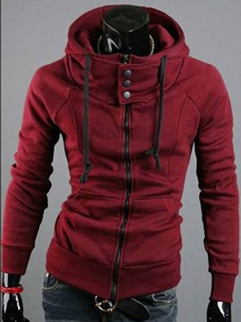 Ericdress Plain Zipper Hooded Hoodie