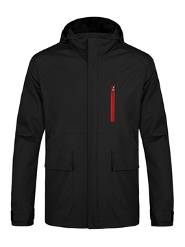 Ericdress Plain Hood Zip Windproof Thin Men's Jacket