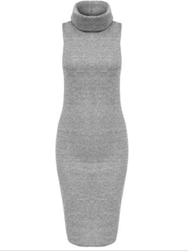 Ericdress Plain Turtleneck Sleeveless Sheath Dress