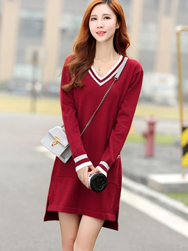 Ericdress Stripe V-Neck Asymmetric Sweater Dress