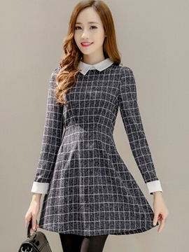 Ericdress Plaid A-Line Casual Dress