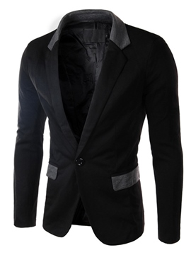 Ericdress Color Block Slim One Button Men's Blazer