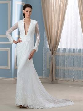 Ericdress Sexy Deep V Neck Balkless Lace Mermaid Wedding Dress