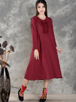 Ericdress Plain Ethnic Expansion Casual Dress
