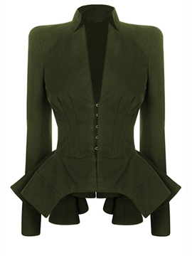 Ericdress Slim Solid Color Pleated Frill Blazer