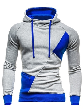 Ericdress Color Block Pullover Thicken Warm Men's Hoodie