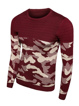 Ericdress Camouflage Color Block Crewneck Men's Sweater