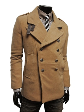 Ericdress Double-Breasted Lapel Slim Men's Woolen Coat