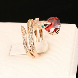 Ericdress Double Layer Snake Shape Gem Ring