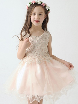 Ericdress Cute Scoop Lace Asymmetry Flower Girl Party Dress