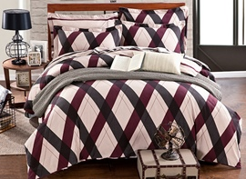 Ericdress Simple Plaid 4-Piece Cotton Bedding Sets