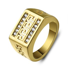 Hollow-out Rhinestone Decorated Men's Ring