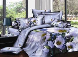 Classy Dull Purple Printed 4 Priece Cotton Bedding Sets
