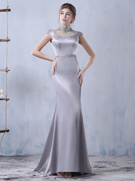 Ericdress High Neck Beaded Cap Sleeves Evening Dress