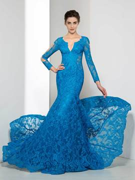 Ericdress Mermaid V-Neck Long Sleeve Lace Evening Dress
